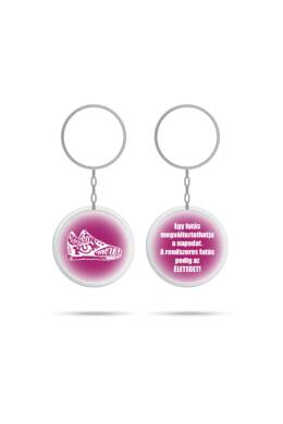 2 oldalas kerek kulcstartó, pink, idèzettel