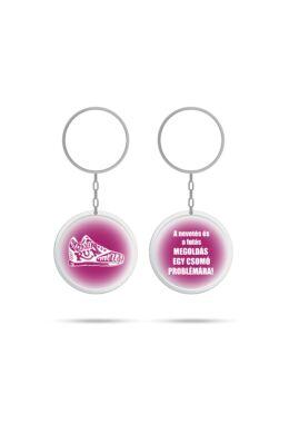 2 oldalas, kerek kulcstartó pink
