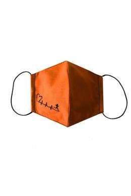 Maszk női - szíves mintával - narancs