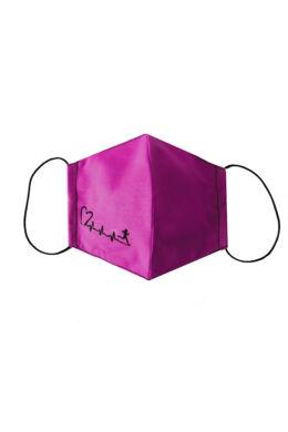 Maszk női -szíves mintával - pink