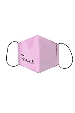 Rózsaszín arcmaszk szíves mintával