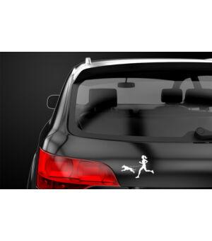 Autómatrica nő kutyával - fekete autó