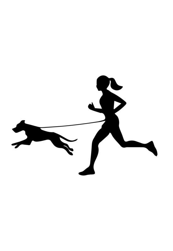 Autómatrica futó nő kutyával